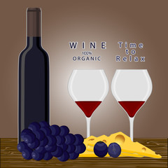 Vector illustration of logo for glass bottle of red,white wine,isolated close-up background.Vine drawing consisting of bottles alcohol organic liquid,wooden board,grapes,cheese,wineglass.Drink vines.