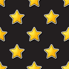 Vector illustration. Seamless pattern. Golden stars on black  background. Decoration for gift paper, prints for clothes, textiles, wallpapers