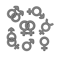 Vector illustration. Hand drawn sketch of gender symbols with scribble. Gender pictograms. Retro vintage element for greeting cards, posters, prints for clothes, banners, signboard, showcases
