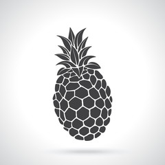 Vector illustration. Silhouette of tropical fruit pineapple. Healthy vegetarian food. Template or pattern. Decoration for greeting cards, wallpapers, emblems