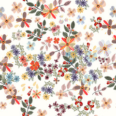 Floral pastel color pattern with spring flowers. Cute design style