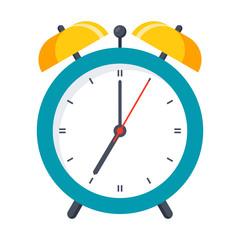 Wake up icon with alarm clock on white background