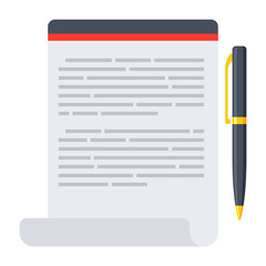 Notebook with pen, vector illustration in flat style