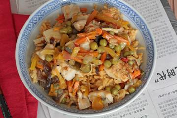 nouilles chinoises, légumes et poulet