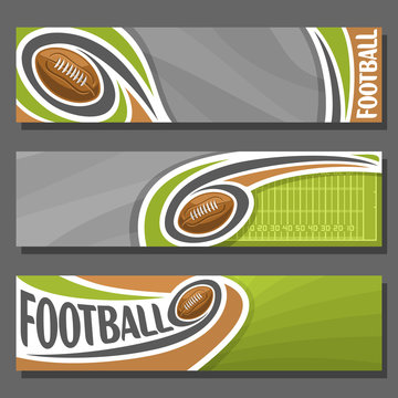 Vector horizontal Banners for American Football: 3 cartoon covers for title text on football theme, field with flying ball, numbers yard line, abstract header banner for advertising on gray background