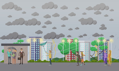 Stormy, windy and rainy weather concept vector illustration, flat style