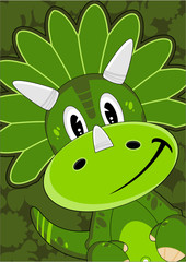 Cute Cartoon Triceratops Dinosaur