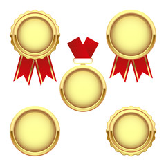 Set of gold medal awards, vector trophy, isolated on white