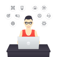 freelancer working with laptop, young cheerful girl in glasses at work, e-commerce, internet marketing