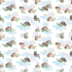 Watercolor stylised turtles seamless pattern texture. Kids style