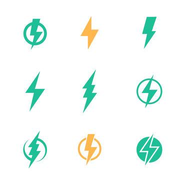Lightning bolt signs on white