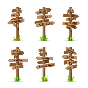 Wooden arrow signboards resort vector set. Wood sign post concept with grass. Board pointer illustration with text isolated on a white background