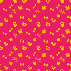 seamless pattern with fitness icons, background in orange and red, vector illustration