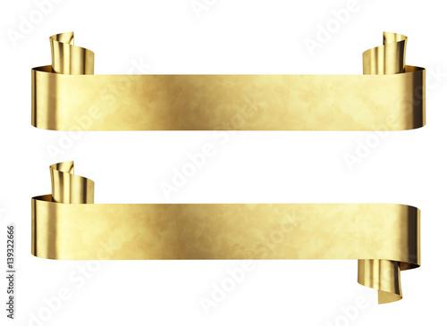 gold metal banner isolated on white 3d render stockfotos und lizenzfreie bilder auf fotolia. Black Bedroom Furniture Sets. Home Design Ideas