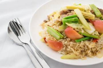 Fried vegetable combination on rice easy thai food.