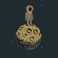 Cartoon astronaut standing on the moon