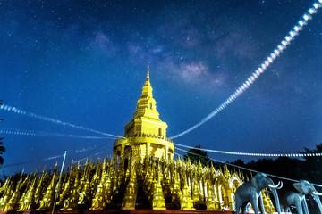 Night Photography, Background blur Milky Way with Buddha Thai Pagoda (Long Exposure)