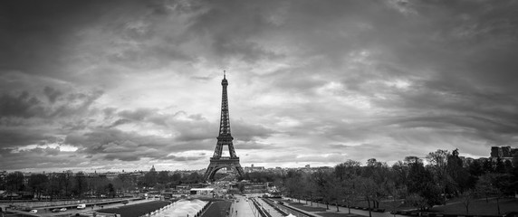 Beautiful panoramic cityscape. Dramatic cloudscape. View of the Eiffel Tower from the Trocadero. B&W photography. France. Paris.