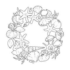 vector black white contour sketch of sea shells circle frame