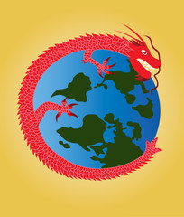 The dragon around the globe