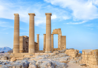 Greece. Rhodes. Acropolis of Lindos. Doric columns of the ancient Temple of Athena Lindia the IV century BC