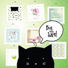 Big spring sale. Greeting cards. Cat character.  Gallery. Background template. Design elements. Pictures.