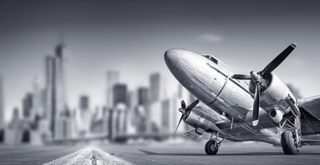 old aircraft against a skyline