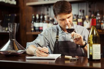 Male sommelier tasting red wine and making notes at bar counter