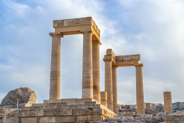 Ancient column in Acropolis of Lindos. Rhodes, Dodecanese Islands, Greece, Europe