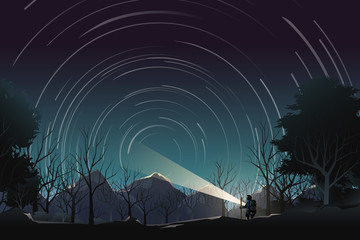 adventurer journey to mountain to watching star rotation