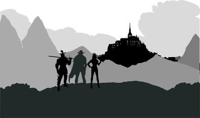 RPG風城への旅路のシルエット