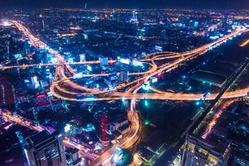 Night traffic transport circle junction road Fotomurales