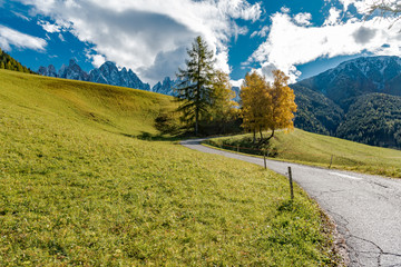 Autumn colors on the Italian Alps in Trentino Alto Adige