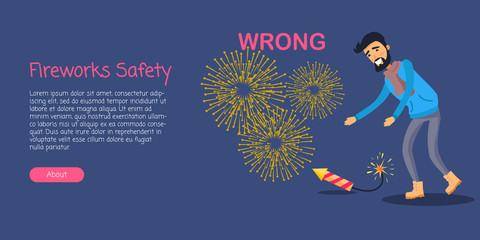 Fireworks Safety, Man Wrong Using Rocket on Ground