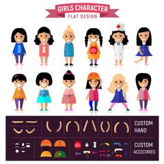 Girl Flat Character Set