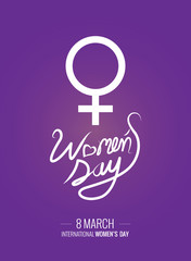 Women's Day text as International Womens Day. Woman's Day lettering typography poster. vector illustration