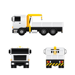 Vector of truck crane in different views isolated on white background.