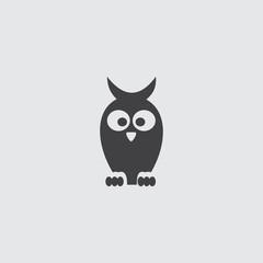 Owl icon in a flat design in black color. Vector illustration eps10
