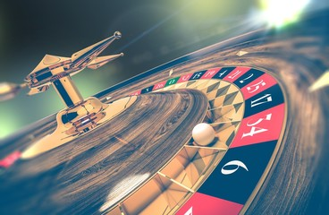 Casino Roulette Wheel Closeup