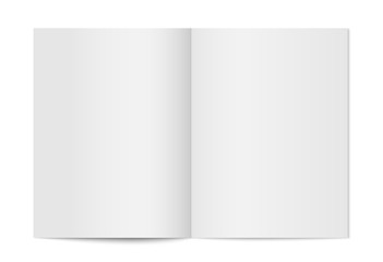 Vector mock up of booklet isolated. Opened vertical magazine, brochure or notebook template on white background. 3d illustration for your design