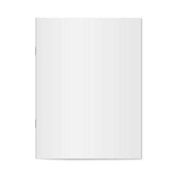 Vector mock up of booklet isolated. Closed vertical magazine, brochure or notebook template on white background. 3d illustration.