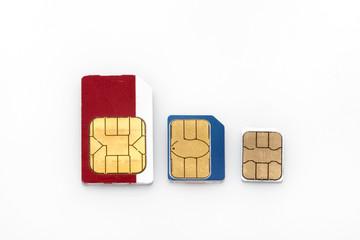 Three types of GSM SIM cards: Mini SIM, Micro SIM and Nano SIM