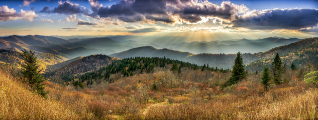 Scenic sunset over Smoky Mountains from the Blue Ridge Parkway in North Carolina