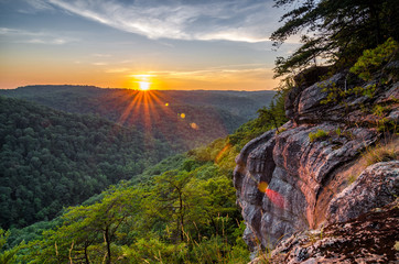 Scenic summer sunset, Big South Fork, Tennessee Wall mural