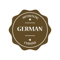 German authentic cuisine stamp illustration