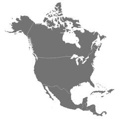 Политическая, детальная, точная карта Северной Америки в высокой точности. Векторная иллюстрация.