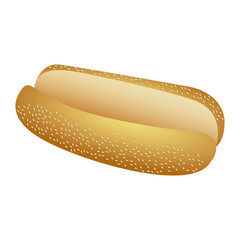 realistic picture bread for hot dog fast food icon vector illustration