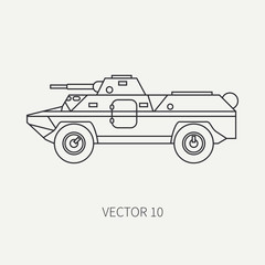 Line flat plain vector icon infantry assault armored army truck. Military amphibious vehicle. Cartoon vintage style. Soldiers. Tractor unit. Tow auto. Simple. Illustration and element for your design.