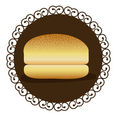 decorative frame with bread hamburger icon food vector illustration