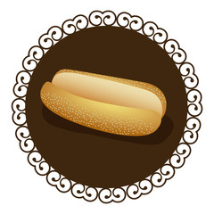 decorative frame with realistic picture bread for hot dog fast food icon vector illustration
